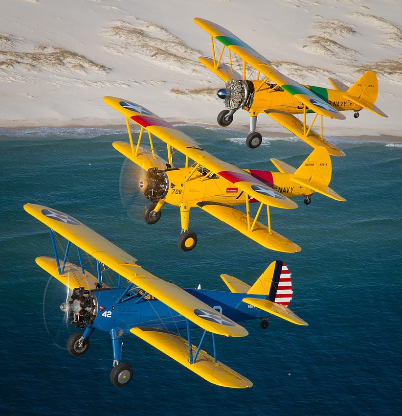 stearmans in flight